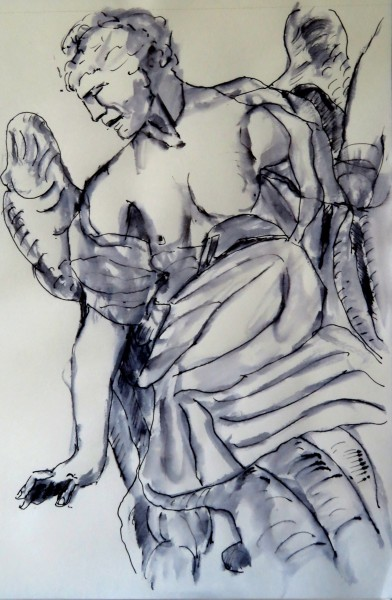 Staute at Chiesa San Ignacio, ink, 30 x 32 cm, 8.25 x 11.75 quality paper