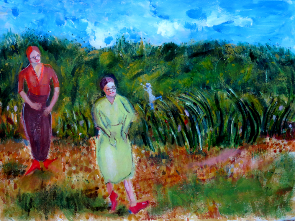 """Pegs in Vincent's Field, acrylics,  57 x 76 cm, 22.5"""" x 30"""" Arches paper"""