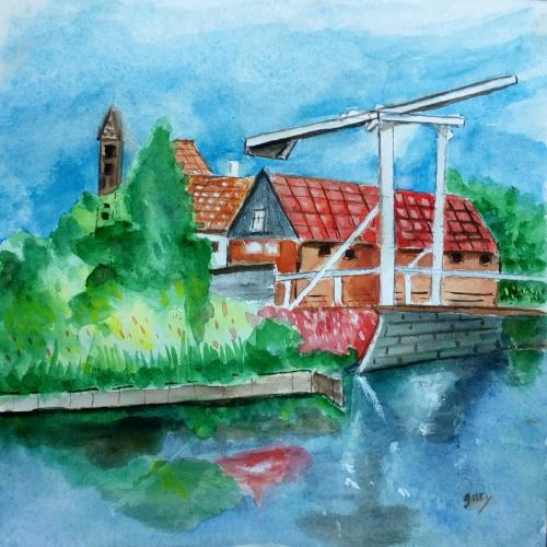 """Bridge in Edam, watercolor, 8 x8,""""  20 cm x 20 cm Arches paper"""