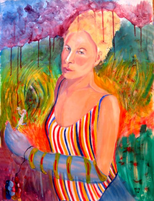 "In a Van gogh-ish Field,  75 x 36 cm, 30 x 14"" acrylics on paper"