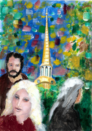 In the Park in St Petersburg Russia, acrylics