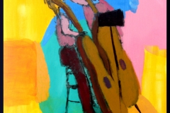 """Two Brown Fiddles at the Palau, acrylics on canvas board, 40 x 50 cm, 16 x 20"""""""
