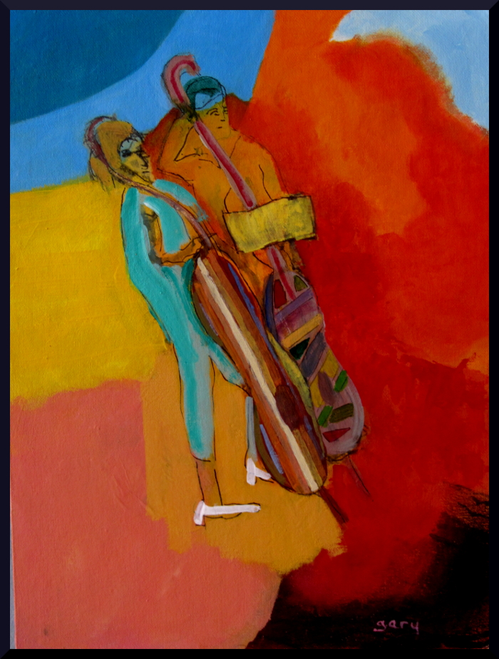"""Two Fiddles at the Palau, acrylics, 30 x 40 cm, 12 x 16"""""""