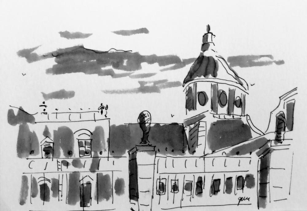 "Palacio de Aranjuez pen and ink, (5 x7"", 12.7 x 17.8 cm)"