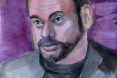 "Vladimir Kara-Murza activist journalist poisoned, acrylics on acrylic paper, 21 x 29.7 cm, 8.3"" x 11.7"""
