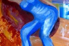 "Woman Reclines, acrylics, A3, 30 x 42 cm, 11.5 x 16"""