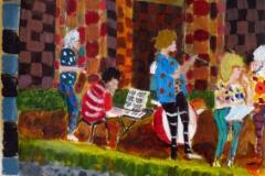 """Band at el Carmen, acrylics on paper, 11.7 x 16.5"""", A4 30 x 42 cm"""
