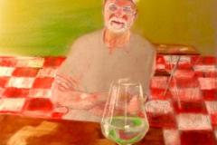 Self Portrait at Wine Fest, Valencia, pastel