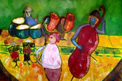 Palau Round Stage, 256 x 76 cm 23 x 30″ acrylics on canvas