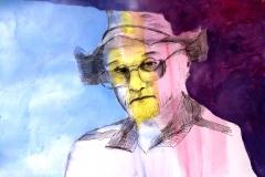 "Portrait Of My Own Self in indiana Jones Hat, pen and ink. 33 x 48 cm, 13 x 20"""
