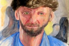 "Russian Man, acrylics on acrylic paper, 21 x 29.7 cm, 8.3"" x 11.7"""