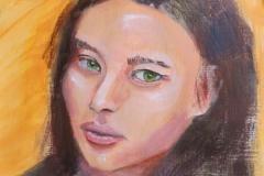 "Eastern Russian Woman, acrylics on acrylic paper, 21 x 29.7 cm, 8.3"" x 11.7"""