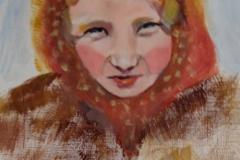 "Siberian Girl, acrylics on acrylic paper, 21 x 29.7 cm, 8.3"" x 11.7"""