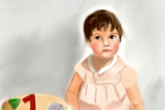 Zoe at 1, digital painting, prints only