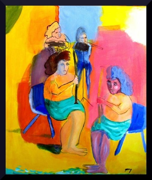 "Fantasy Quartet 50 x 60 cm;19.5 x 23.50 x .75 x.75"" acrylics on canvas"