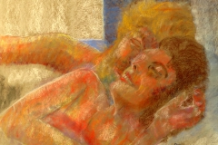 Couple Snuggling in Bed, pastel painting, 65 x 50 cm/25.5 x 20""