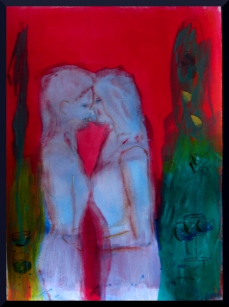 "Women Embrace II, acrylics on paper, A3, 16.5 x 11.7"""