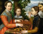 Three Sisters Playing Chess