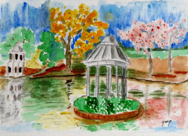 Aranjuez Gazebos, 12.7 x 17.8 cm, watercolor