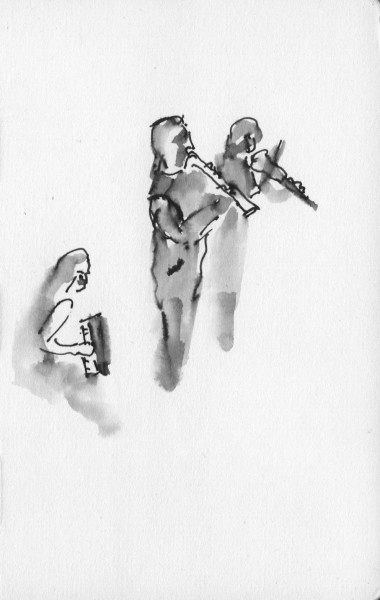 Barcelona Gipsy balKan Orchestra, pen ink brish, mini done in audience