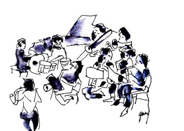 Big Band Palau de la Musica, small stage, 16 x 11 cm,