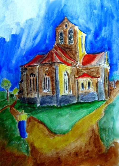 "Church at Avers sur Oise: Ode to Vincent, waatercolor, 11.5 x 16.5"", 30 x 42 cm"
