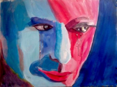 """Close Up, acrylics, 40 x 30, 16.5 x 8.25"""""""