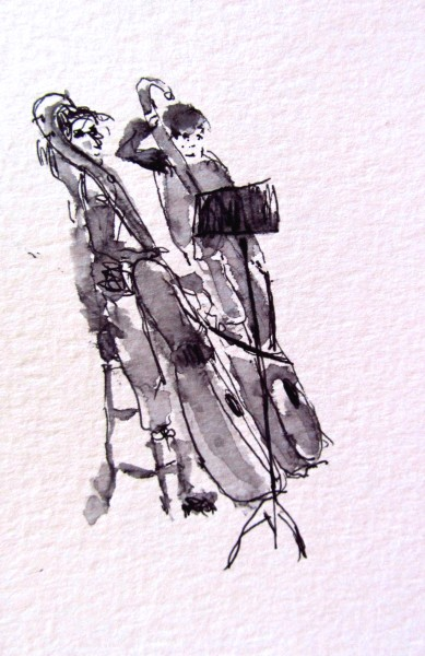Contrabass at Palau de la Musica, pen and ink, prints only