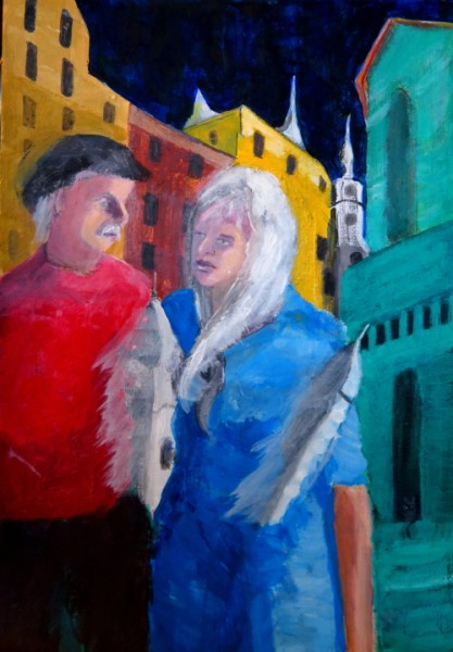 "Couple in Vilnius, acrylics on paper, 11.7 x 16.5"", A4 30 x 42 cm"