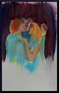 "Couple Dances II, acrylics A3, 16.5 x 11.7"" on paper"