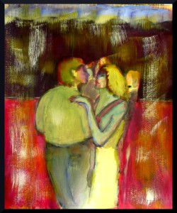 "Couples Dance III A3, 16.5 x 11.7"" acrylics on paper"