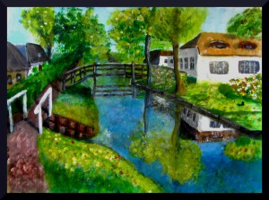 View of Giethoorn (acrylics)  A3 16.5 x 11.5""