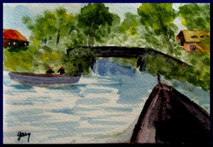 Giethoorn, Boat Nears Bridge, watercolor A6