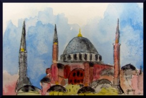 "Hagia Sophia miniature (4"" x 6"") acrylics on postcard stock"