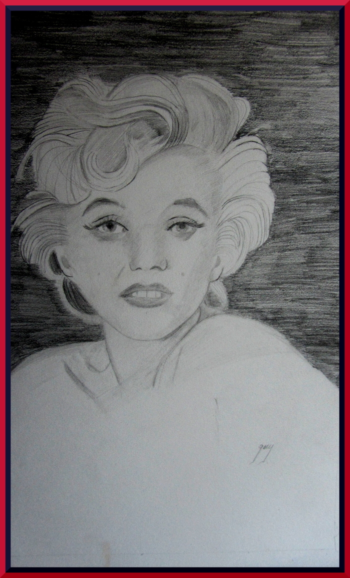 Marilyn Monroe Shortly Before Her Death, graphite, A3, 11.5 x 16.5""