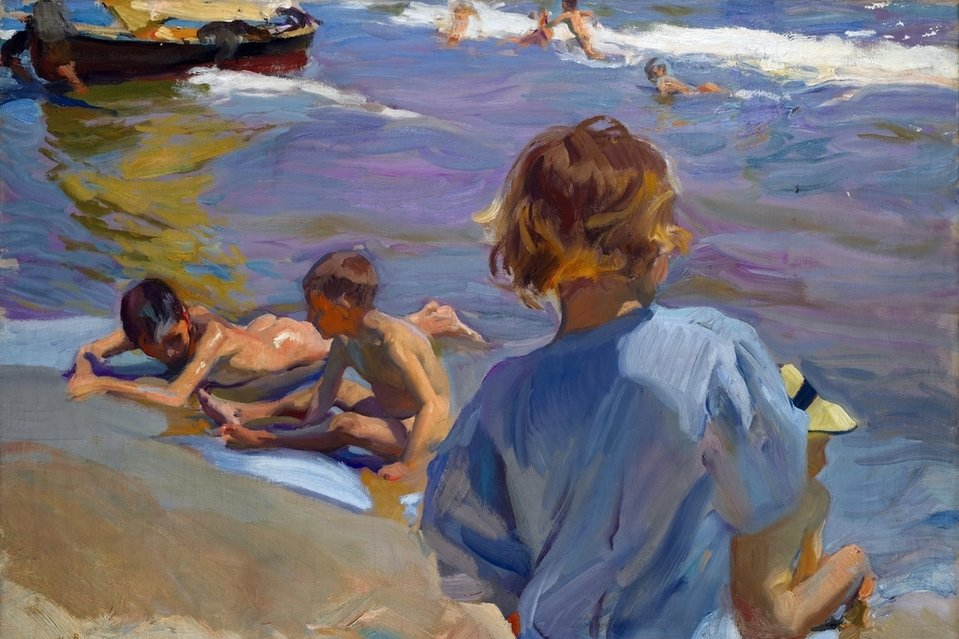Children on the Beach-- Niños en la Playa