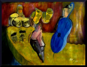 "Horns and Contrabass at Palau de la Musica,acrylics, 56 x 76 cm 23 x 30"" on paper"