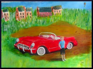 Rafa and the Corvette, acrylics, A3 11.5 x 16.5""