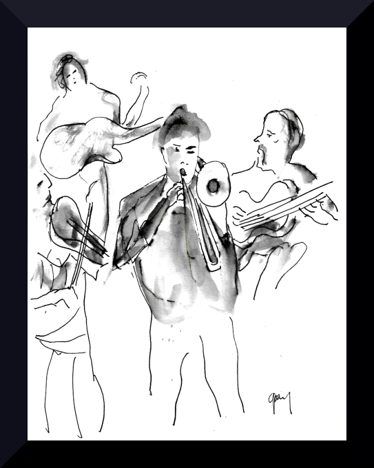 Flamenco Fusion Sala Russafa pen and ink 21 x 15 cm, 8.3 x 5.9""