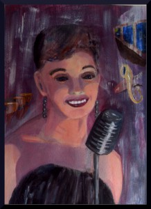 """Jazz Singer, acrylics A3, 16.5 x 11.5"""" on paper"""