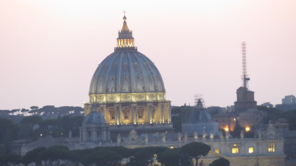 St Peter's at night from Vittorio