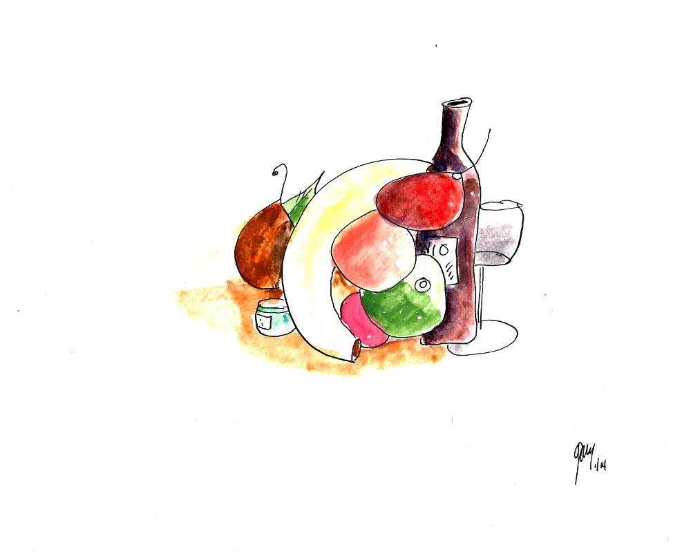 Still Life Fruit and Spanish Wine, water color on quality paper, a4/ 8.25 x 11.5