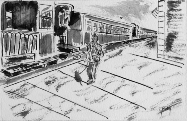 Train to Soller, pen and ink