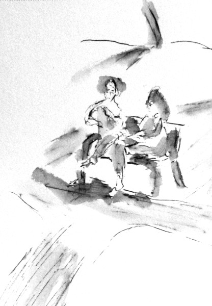 Two Women on Bench Park Schlossberg