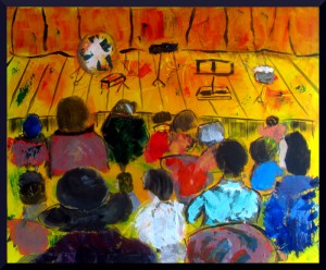 "Waiting for the Concert at the Small Hall in the Palau; 65 x 54 cm, 25 x 21"" acrylic on canvas"