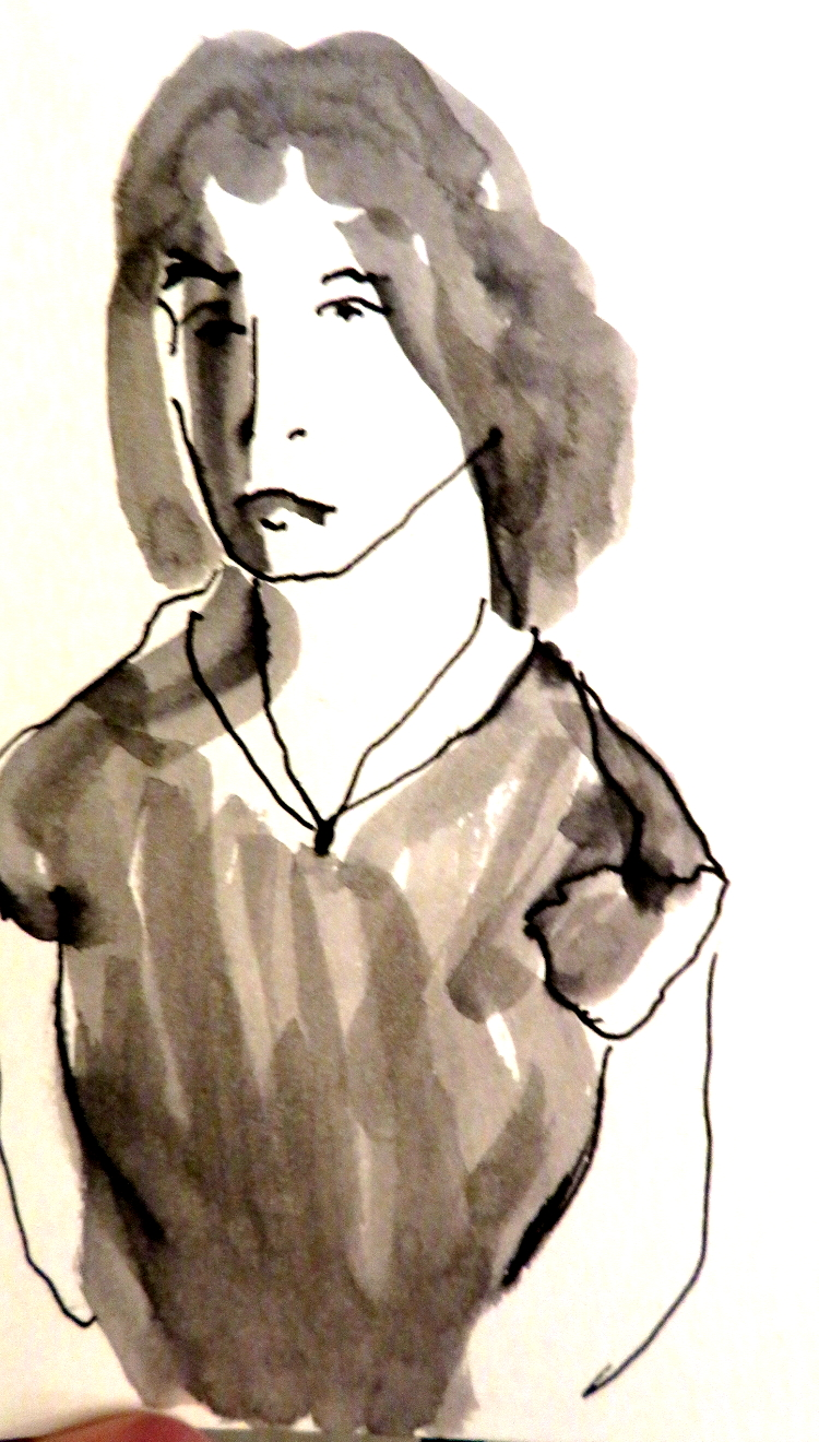 Young Woman, ink, 13.8 c 8.5 cm, 4.5 inches by 5.5, inches, ink, 13.8 c 8.5 cm, 4.5 inches by 5.5, inches, ink
